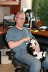 Scott Adams and cat Sarah